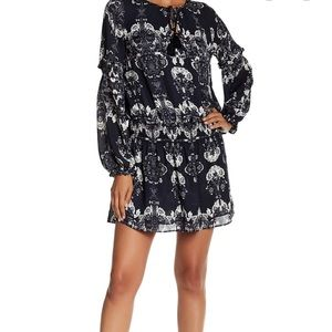 Parker Floral Smocked Waist Long Sleeve Dress XS